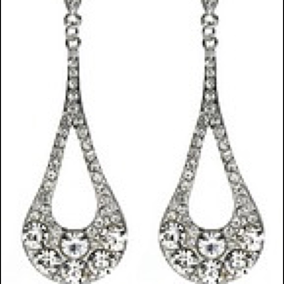 Jewelry - Crystal Pave Dangling Oval Cutout Earrings